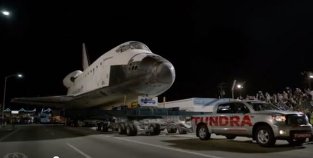 how far did the toyota tundra pull the space shuttle